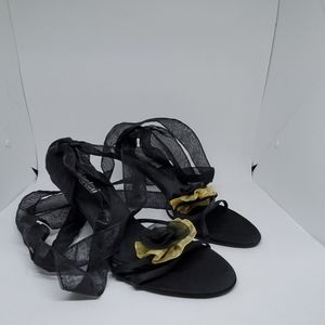 Unlisted Black & Gold Wrap Heels